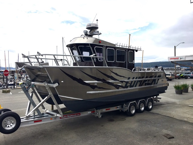 "New! ACI Boats 28' x 9'6"" Lumacat Sport.Twin 300 Suzuki's, Kicker, Heat, Trailer."